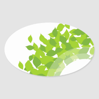 Design element with green leaves oval sticker