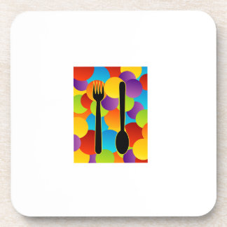 Design element with spoons and fork beverage coaster