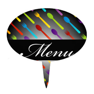 Design element with spoons and fork cake topper