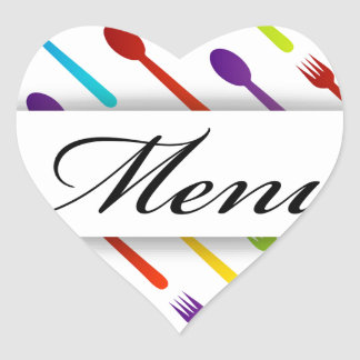 Design element with spoons and fork heart sticker