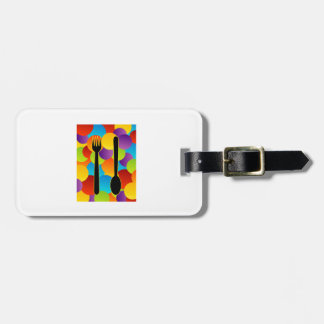 Design element with spoons and fork luggage tag
