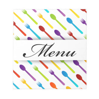 Design element with spoons and fork notepad