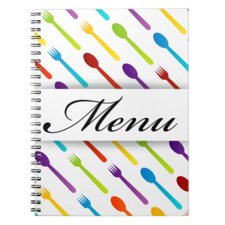 Design element with spoons and fork spiral notebook