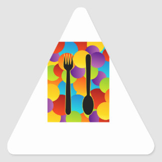 Design element with spoons and fork triangle sticker