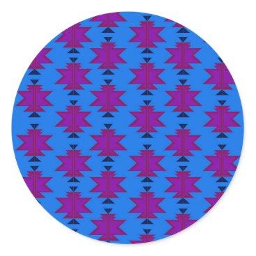 Aztec Themed Design elements aztecs blue classic round sticker
