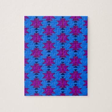 Aztec Themed Design elements aztecs blue jigsaw puzzle