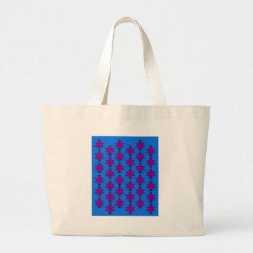 Aztec Themed Design elements aztecs blue large tote bag