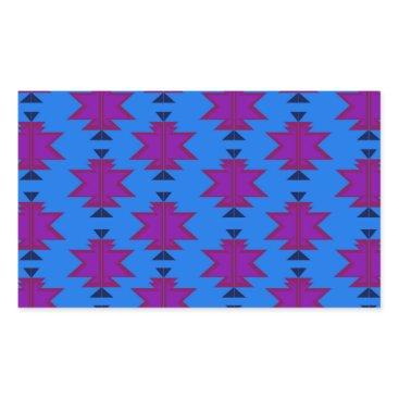 Aztec Themed Design elements aztecs blue rectangular sticker