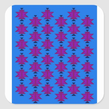 Aztec Themed Design elements aztecs blue square sticker