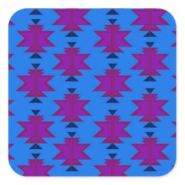 Aztec Themed Design elements aztecs blue square sticker