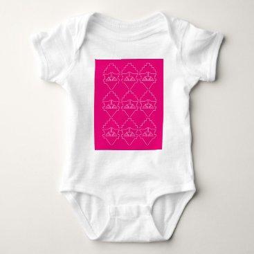 Aztec Themed Design elements on pink baby bodysuit