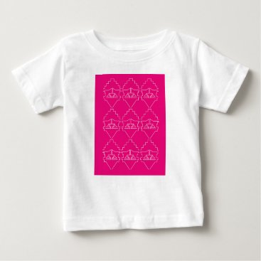 Aztec Themed Design elements on pink baby T-Shirt