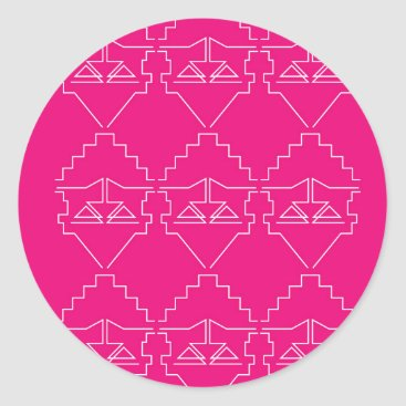 Aztec Themed Design elements on pink classic round sticker
