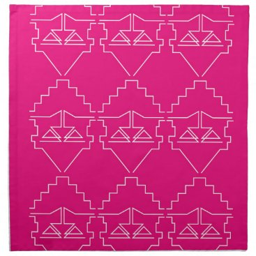 Aztec Themed Design elements on pink cloth napkin