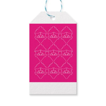 Aztec Themed Design elements on pink gift tags