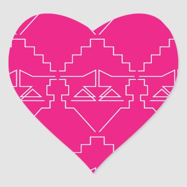 Aztec Themed Design elements on pink heart sticker