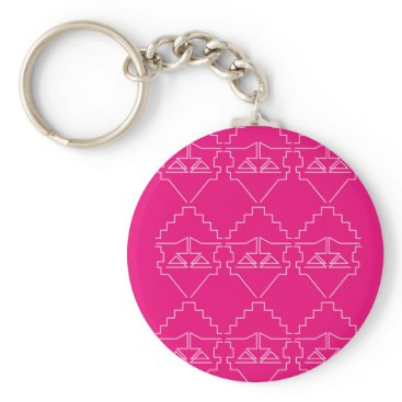 Aztec Themed Design elements on pink keychain