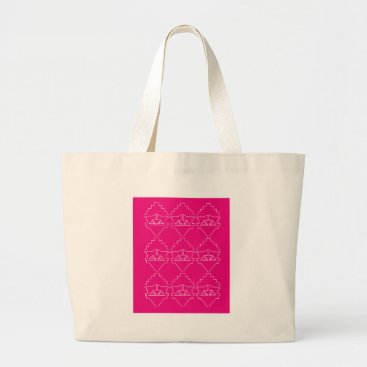 Aztec Themed Design elements on pink large tote bag