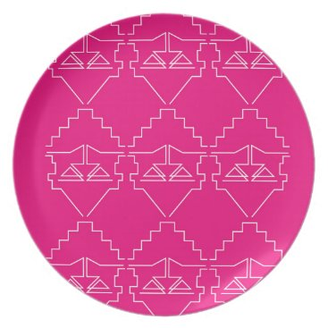 Aztec Themed Design elements on pink plate