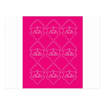 Aztec Themed Design elements on pink postcard