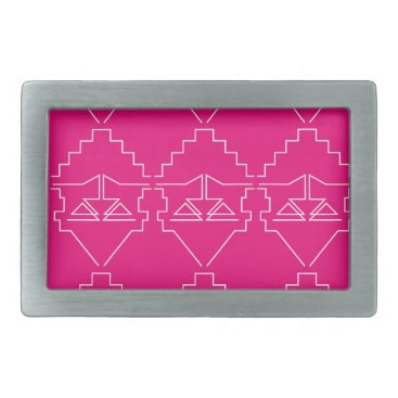 Aztec Themed Design elements on pink rectangular belt buckle