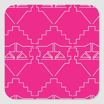 Aztec Themed Design elements on pink square sticker