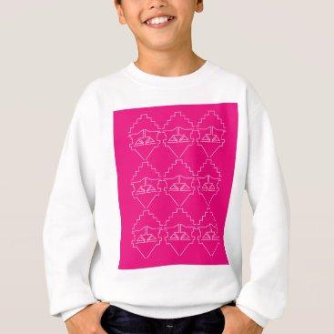 Aztec Themed Design elements on pink sweatshirt