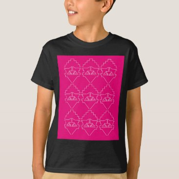 Aztec Themed Design elements on pink T-Shirt