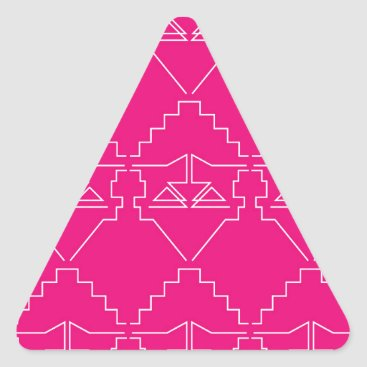 Aztec Themed Design elements on pink triangle sticker