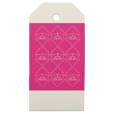 Aztec Themed Design elements on pink wooden gift tags