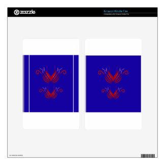 Design elements  Red on blue Kindle Fire Skin