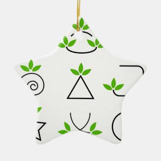 Design elements set with green foliage ceramic ornament