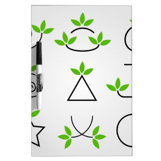 Design elements set with green foliage dry erase board