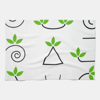 Design elements set with green foliage hand towel