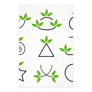 Design elements set with green foliage stationery