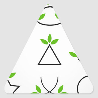 Design elements set with green foliage triangle sticker