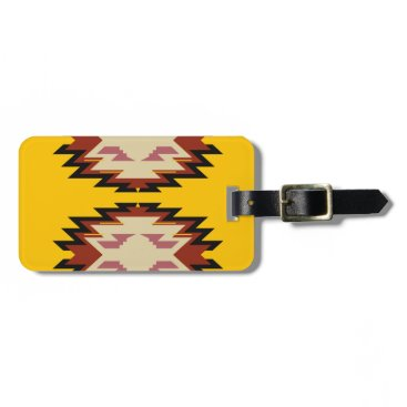 Aztec Themed Design exotic aztecs Gold Bag Tag