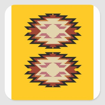 Aztec Themed Design exotic aztecs Gold Square Sticker