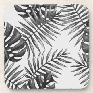 Design exotic leaves blackwhite drink coaster
