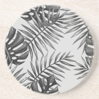 Design exotic leaves blackwhite sandstone coaster