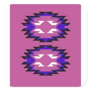 Aztec Themed Design exotic pink elements aztecs square sticker