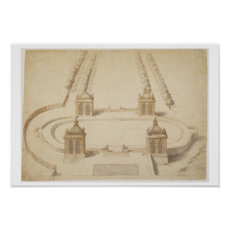 Design for a Bowling Green, Hampton Court, c.1689- Poster