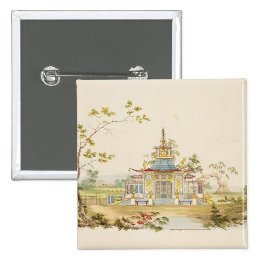 Design for a Chinese Temple, c.1810 (pen & ink and 2 Inch Square Button