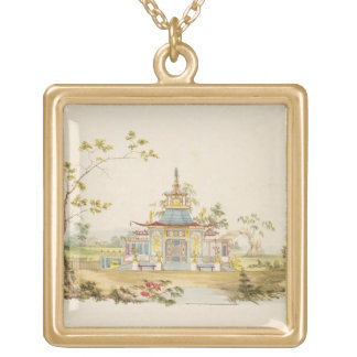 Design for a Chinese Temple, c.1810 (pen & ink and Gold Plated Necklace