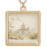 Design for a Chinese Temple, c.1810 (pen & ink and Square Pendant Necklace