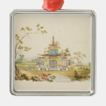 Design for a Chinese Temple, c.1810 (pen & ink and Square Metal Christmas Ornament
