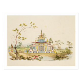 Design for a Chinese Temple, c.1810 (pen & ink and Postcard