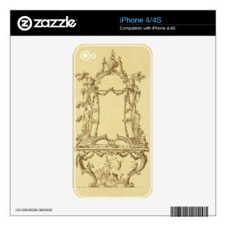 Design for a Console Table (pen & ink wash) Skins For The iPhone 4