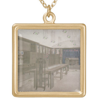Design for a Dining Room, 1901 (colour litho) Gold Plated Necklace