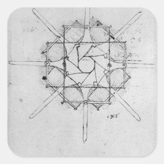 Design for a folding Capstan handle, Fol. 376v-c Square Sticker